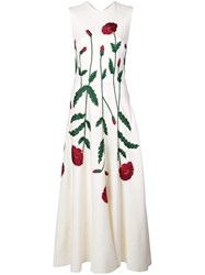 Oscar De La Renta Embroidered Floral Dress White