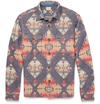 Faherty Aztec Print Cotton Overshirt Blue