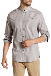 Kenneth Cole Long Sleeve Besom Pocket Button Up Shirt Red