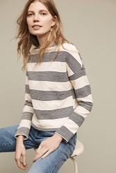 Anthropologie Saborie Striped Sweatshirt Blue Motif