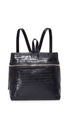 Kara Croc Embossed Backpack Black