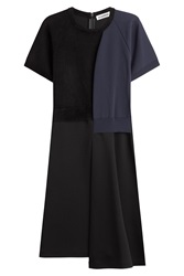 Jil Sander Wool Jersey Colorblock Dress Black