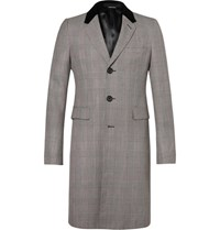 Alexander Mcqueen Velvet Trimmed Prince Of Wales Checked Wool Coat Black