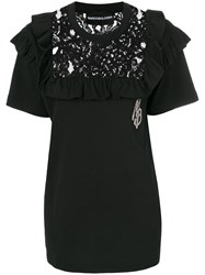 Marco Bologna Lace Yoke Detail Top Cotton Black