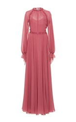 Luisa Beccaria Long Sleeve Embellished Dress Pink