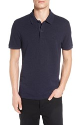 Lacoste Men's Slub Pique Polo Navy Blue Dyed