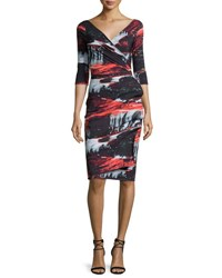 La Petite Robe Di Chiara Boni Flo Draped Abstract Cocktail Dress Marte Black Multicolor Black Pattern