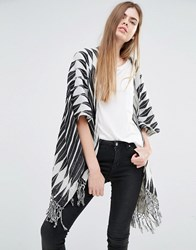 Becksondergaard Diamond Stripe Cape With Tassels Multi