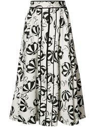 Carolina Herrera Printed Flared Skirt White