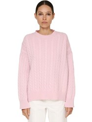Loewe Cable Knit Wool Sweater Pink