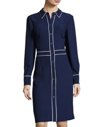 Pink Tartan Contrast Piping Shirtdress Blue White