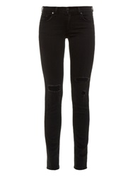 Rag And Bone Distressed Mid Rise Skinny Jeans