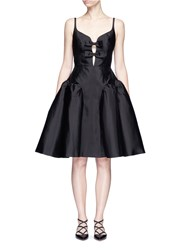 Chictopia Bow Front Puffed Godet Dress Black