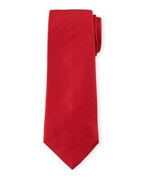 Diamond Grid Silk Tie Red Davidoff