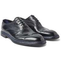 Dolce And Gabbana Marsala Polished Leather Oxford Brogues Blue