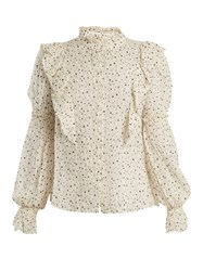Rebecca Taylor Star Print Silk Blend Blouse Cream Multi