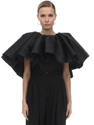 Marques Almeida Pleated Silk Blend Cape Top Black