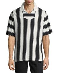 Ovadia And Sons Striped Knitted Polo Shirt Black White