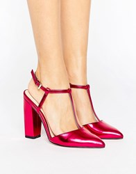Little Mistress Metallic Pointed T Bar Heeled Shoes With Block Heel Pink
