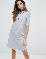 Only Stripe Shirt Dress Cloud Dancer Blue
