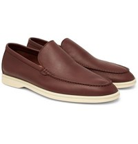 Loro Piana Summer Walk Leather Loafers Brown