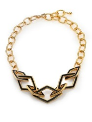 Kenneth Jay Lane Kite Open Link And Chain Necklace Gold Black