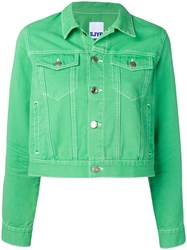 Sjyp Cropped Denim Jacket Green