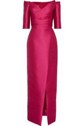 Monique Lhuillier Woman Off The Shoulder Ruched Satin Gown Magenta