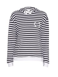 The Upside Rimini Striped Hooded Sweatshirt Navy White