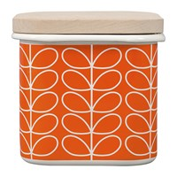 Orla Kiely Enamel Linear Stem Storage Jar Persimmon