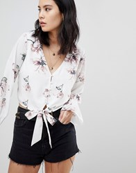 Honey Punch Tie Front Crop Top In All Over Floral Print White
