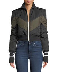 Maggie Marilyn Conquer Your Fears Cropped Puffer Jacket Black Brown
