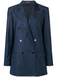 Theory Striped Double Breasted Blazer Blue