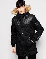 Voi Jeans Hooded Parka With Diamond Quilt And Fur Trim Black