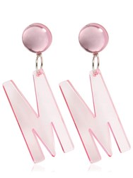 Moschino M Clip On Earrings Pink