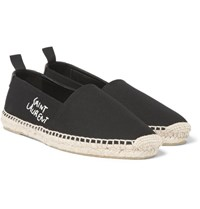 Saint Laurent Embroidered Canvas Espadrilles Black