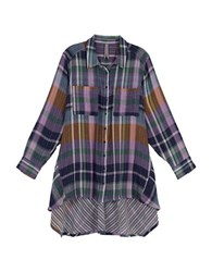 Melissa Mccarthy Seven7 Plus Cotton Hi Lo Plaid Shirt Purple
