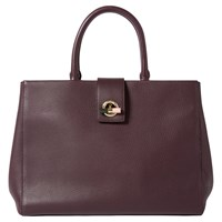 Paul Smith Leather T Bar Lock Tote Bag Burgundy