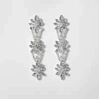 River Island Silver Tone Floral Diamante Drop Earrings