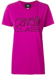 Class Roberto Cavalli Studded Logo T Shirt Pink And Purple