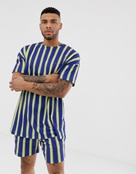 Liquor N Poker Oversized T Shirt In Navy Stripe Print Multi