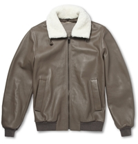 Faconnable Shearling Trimmed Leather Bomber Jacket Brown
