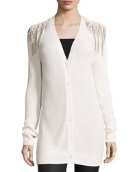 Haute Hippie Luxe Knit Shoulder Fringe Cardigan Antique Ivory Antique Ivoire