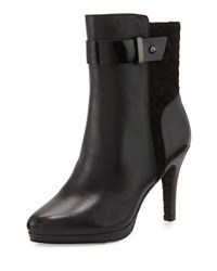 Elie Tahari Galina Quilted Suede Leather Bootie Black