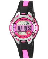 Armitron Women's Digital Black And Pink Strap Watch 35Mm 45 7030Pnk