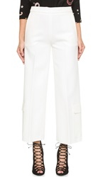 Msgm Wide Leg Crop Cargo Pants White