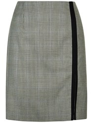 Jaeger Wool Prince Of Wales Skirt Black Ivory