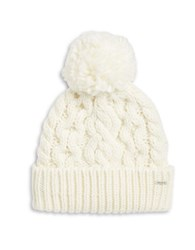 Rella Cable Knit Pom Pom Accented Fleece Lined Beanie Natural