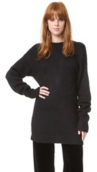 Tibi V Back Sweater Black