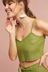 Anthropologie Linen Cropped Cami Green